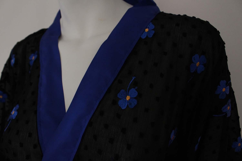 dames kimono fleur bleu